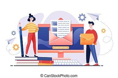lettre, concept, email, services, ouvert