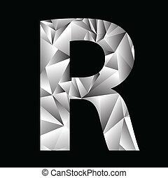 lettre, cristal, r