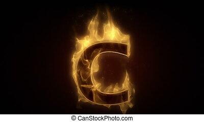 lettre, esprit, boucle, ardent, c, brûlé