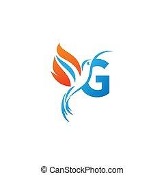 lettre g, colibri, combiné, logo, icône, aile, brûler