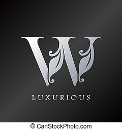 lettre, initiale, luxueux, logo, monogram, w