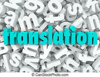 lettre, langue, signification, fond, traduction, interpréter, 3d