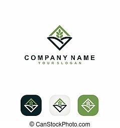 lettre, logo, formé, paysage, v