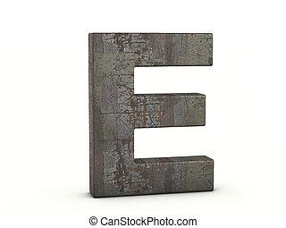 lettre, métal rouillé, e