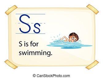 lettre, natation, s
