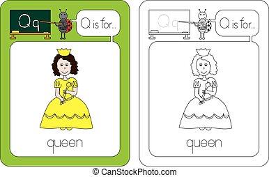 lettre, q, flashcard