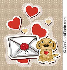 lettre, rigolote, amour, chien, illustration