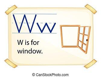 lettre, w, fenêtre