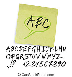 lettres, alphabet, (uppercase, vector., numbers)., manuscrit