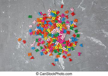 lettres, anglaise, bois, coloré, dispersé