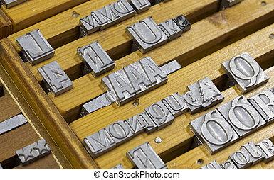lettres, beaucoup, aléatoire, métal, haut fin, vieux
