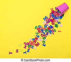 lettres, bois, alphabet, dispersé, multicolore, anglaise