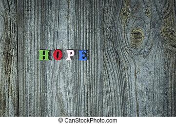 lettres, bois, mots, multi-coloré, petit, espoir
