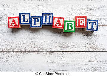 lettres, bois, spelled, -alphabet-, mot, bloc