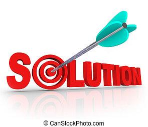 lettres, cible, centre, solution, résolu, flèche, mot, problème, 3d