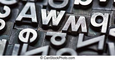 lettres, closeup, plomb