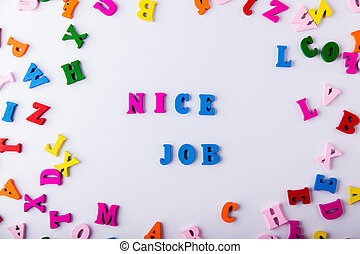 lettres, coloré, bois, dispersé, job., gentil