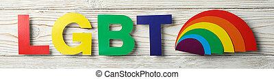 lettres, coloré, bois, fond blanc, lgbt