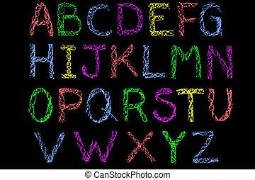 lettres, craie, tableau noir, manuscrit, coloré, alphabet