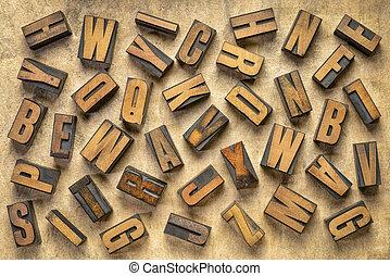 lettres, fond, bois, aléatoire, type