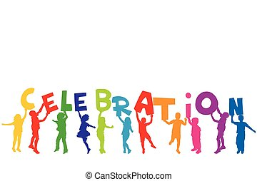 lettres, groupe, silhouettes, tenue, mot, enfants, célébration