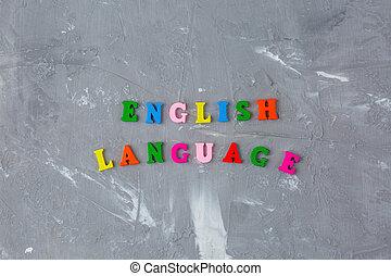 lettres, inscription, anglaise, bois, coloré
