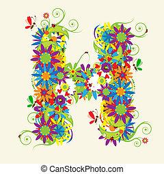 lettres, lettre, aussi, voir, h, floral, mon, galerie, design.