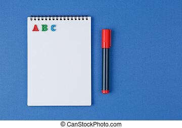 lettres, marqueur, coloré, cahier, abc