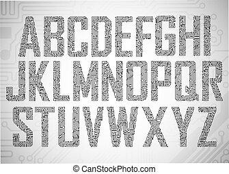 lettres, planche, circuit