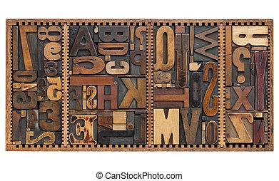 lettres, signes, ponctuation, vendange, nombres
