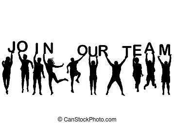lettres, tenue, gens, joindre, silhouettes, mots, équipe, notre