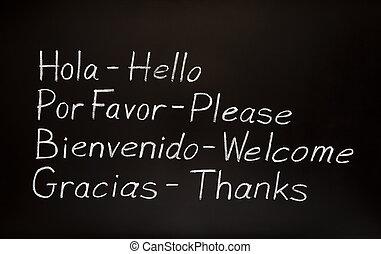 leur, anglaise, translations, mots, espagnol