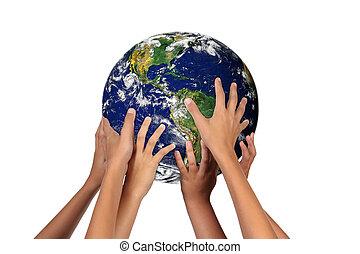 leur, avenir, la terre, générations, mains