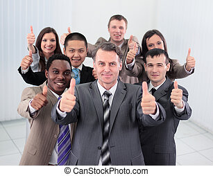 leur, bureau., haut, heureux, projection, pouces, collègues