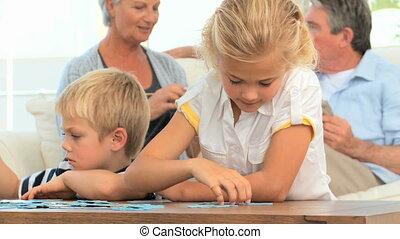 leur, grandiose, puzzle, quoique, enfants, parents, conversation