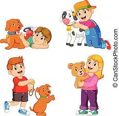 leur, jouer, animaux familiers, animal, collection, enfants