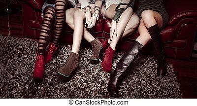 leur, mode, filles, chaussures