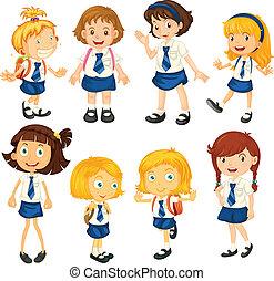 leur, uniformes, huit, écolières