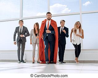 leur, vestibule, business, éditorial, bureau, marcher, équipe