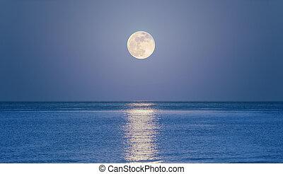 levée, mer, lune