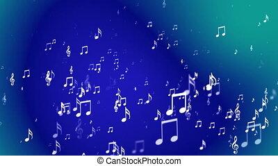 levée, musique, loopable, notes, émission, bleu, evénements, hd