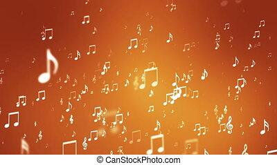 levée, musique, loopable, notes, émission, orange, evénements, hd