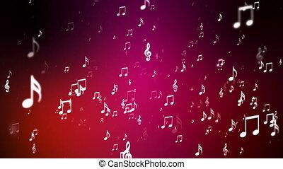 levée, musique, loopable, rouges, notes, émission, evénements, hd