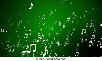levée, musique, loopable, vert, notes, émission, evénements, hd