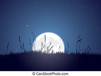 lever lune, herbeux