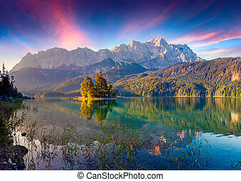 lever soleil coloré, lac, eibsee, été
