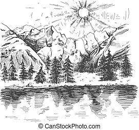 levers de soleil, forêt, montagnes, lac