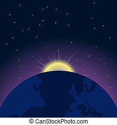 levers de soleil, la terre, espace