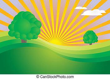levers de soleil, paysage