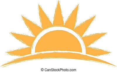 levers de soleil, vecteur, main, dessiné, logo., illustration, graphique